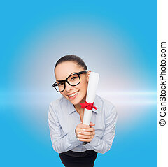 smiling businesswoman in eyeglasses with diploma - business...