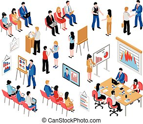 Business Education And Coaching Isometric Icons Set -...