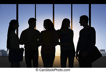 people silhouettes over office background - business,...