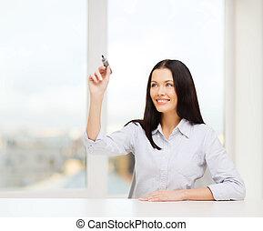 smiling woman writing on virtual screen