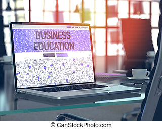 Business Education on Laptop in Modern Workplace Background...