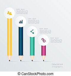 Business education pencil staircase Infographics option. Vector illustration. can be used for workflow layout, banner, diagram, number options, step up options, web design.