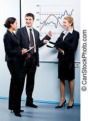 Business education - Portrait of successful man explaining a...