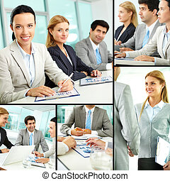 Business education - Collage of successful businesspeople...