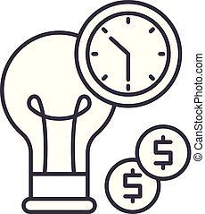 Business efficiency line icon concept. Business efficiency vector linear illustration, symbol, sign