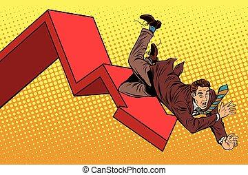 business, effondrement, mâle, ruine, automne, financier