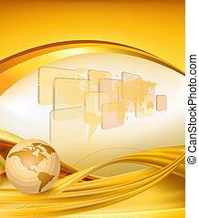 Business elegant gold background with globe Vector...