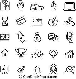 Money finanse banking safety icons business card deposit vector business element icons vector illustration reheart Images