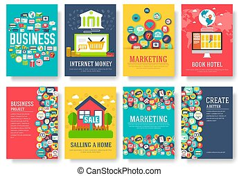 Business elements cards set. Marketing template of flyear, magazines, posters, book cover, banners, booklet. idea infographic concept background. Layout illustrations modern pages with typography text