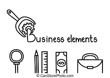 Business elements, doodles icons. Vector illustration.