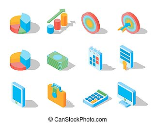 Business elements for web design in three dimensional vector illustrations