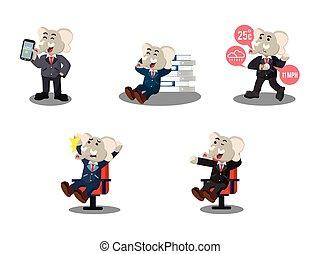 business elephant cartoon set