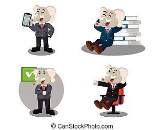 business elephant happy cartoon set