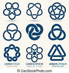 Business emblem set, blue knot symbol