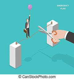 Business emergency plan isometric vector concept.