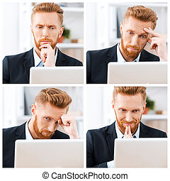 Business emotions. Collage of businessman expressing different emotions while wotking at the laptop