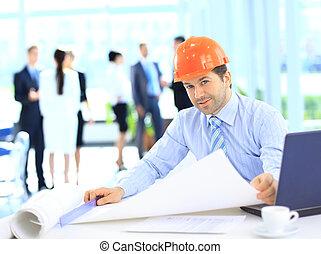 business, emplacement travail, construction, beau, homme