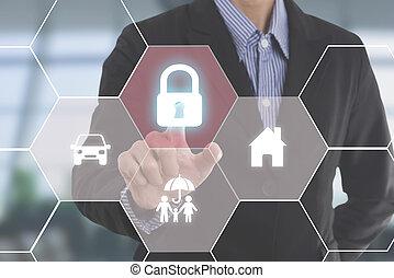 business, employés, (insurance, agent), protéger, attention clientèle, concept, famille, assurance-vie, santé, insurance.