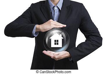 business, employés, protéger, attention clientèle, concept, famille, maison, insurance.
