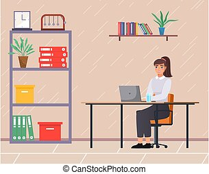 Office staff, manager work and communication. Office worker at the table. Business employees on their workspace. Co-worker. Business woman or a clerk working at his office workplace flat style