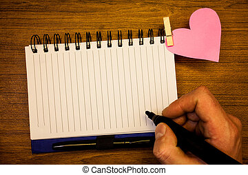 Business Empty template for Layout for invitation greeting card promotion poster voucher Huanalysis hand retain black pen, notepad with words, paperhook rivet pink heart