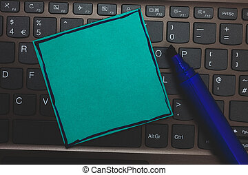 Business Empty template for Layout for invitation greeting card promotion poster voucher Huge button with computer keyboard black lined written blue page marker pen