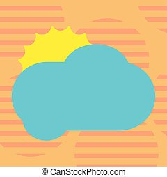 Business Empty template for Layout for invitation greeting card promotion poster voucher Sun Hiding Shining Behind Blank Fluffy Color Cloud Vector for Poster Ads