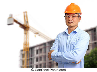 Business engineer at construction site background