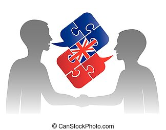 Business English dialog - Two men and Puzzle bubble talk ...