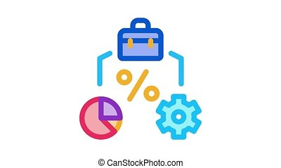 business, engrenage, cas, animation, cent, infographic, icône
