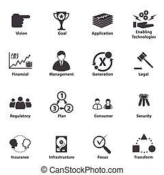 business, ensemble, grand, il, stra, données, icône
