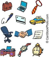 business, ensemble, homme affaires, accessoires, icônes, collection, choses, symboles