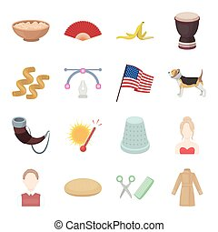 business, entertainment, ecology and other web icon in cartoon style.coat, clothes, america icons in set collection.