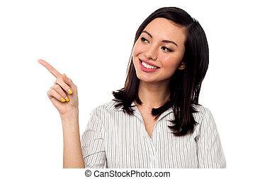 Business entrepreneur pointing away