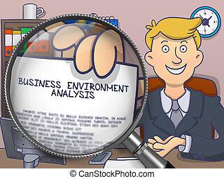 Business Environment Analysis through Magnifier. Doodle Design.