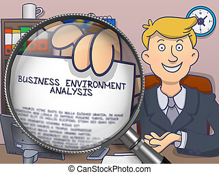 Business Environment Analysis through Magnifier. Doodle Design.