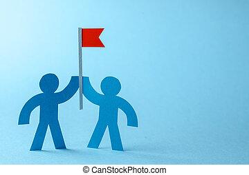 business, espace, goal., texte, drapeau, seeks, équipe, copie, réaliser, rouges