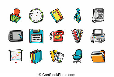 business, et, icônes bureau, ensemble