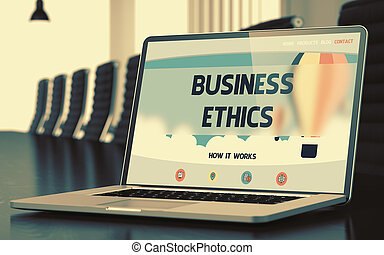 Business Ethics Concept on Laptop Screen. 3D.