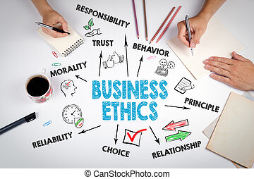 Business Ethics Concept. The meeting at the white office table