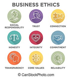 Business Ethics Icon Set with social responsibility,...