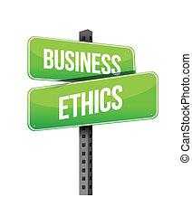 business ethics road sign illustration design over a white...
