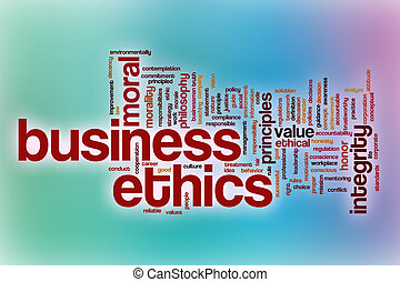 Business ethics word cloud with abstract background