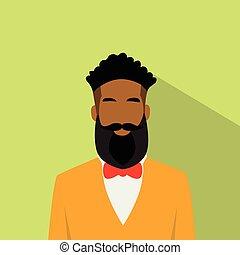 business, ethnique, mâle, avatar, américain, profil, homme, icône, africaine