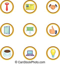 Business event icons set, cartoon style