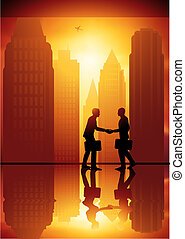 Business Exchange - A couple of businessmen shaking hands...
