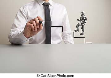 Business executive drawing steps for a handdrawn businessman to climb