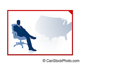 Business executive on US map background