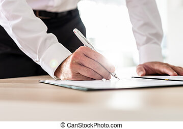 Business executive signing a contract