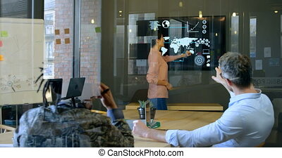 Business executives discussing over digital screen 4k